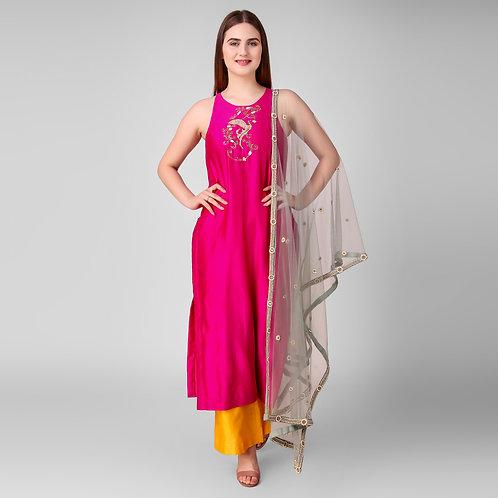 Birdie Color Block Suit With Sharara
