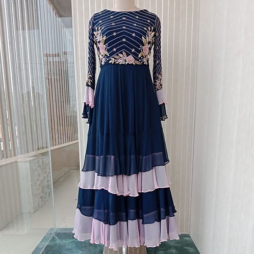 Navy blue multi layered kalidaar with hand embroidered neckline