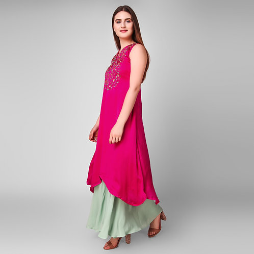 Asymmetrical Rose Pink Suit