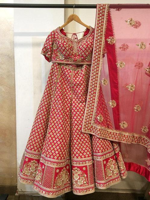 Red Banarasi Zardosi Bridal Lehenga