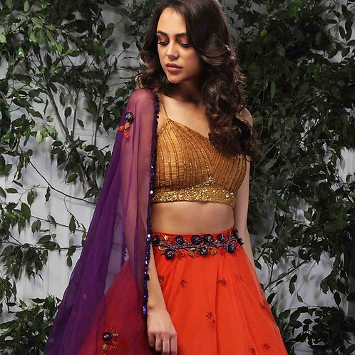 Rust Orange lehenga with embroidered blouse and dupatta