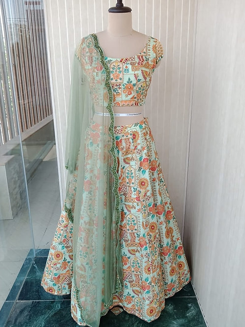 Mint Green Printed Lehenga with Hand Embroidery