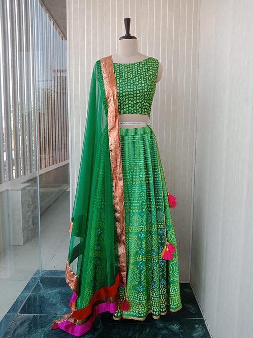 Green Bandhini Lehenga with Matching Blouse & dupatta