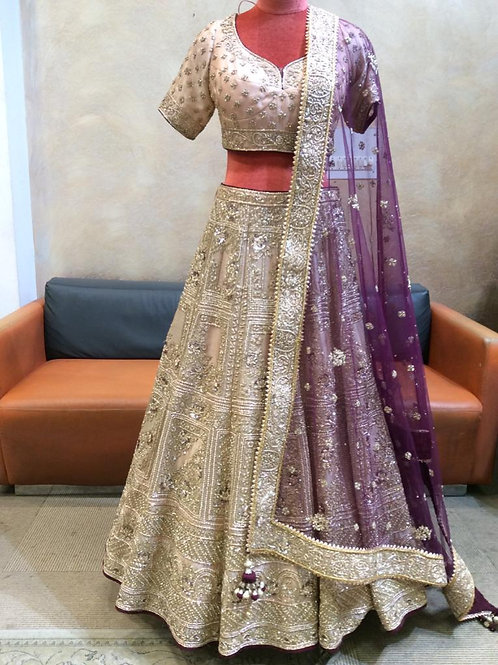 Light Gold Lehenga Choli With Zari Embroidery In Floral And Heritage Motifs