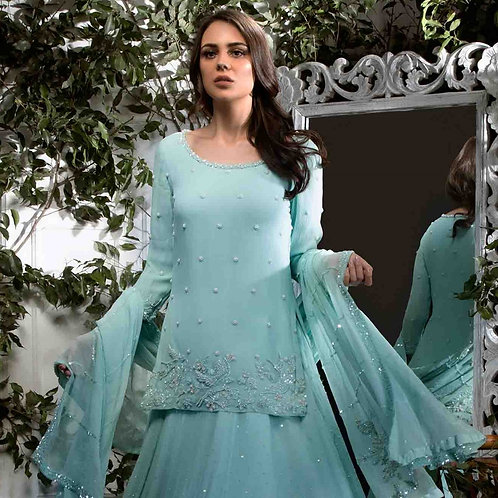 Pastel Gree Chiffon Skirt with Pearl Embroidered Long top & dupatta ta
