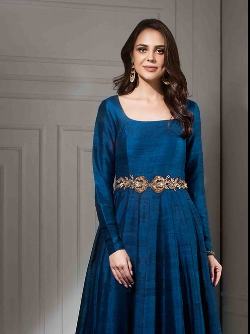 Navy Blue Raw Silk Ottomon Pleated Kalidar with Waist Belt
