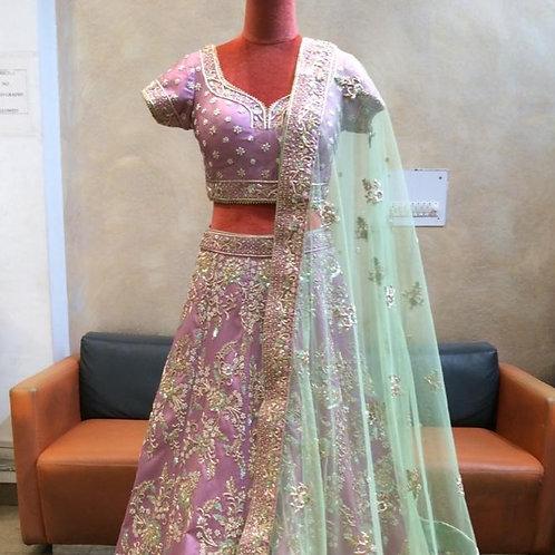 Veiled Lavender Lehenga Choli In Raw Silk With Resham Embroidery