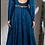 Thumbnail: Navy Blue Raw Silk Ottomon Pleated Kalidar with Waist Belt