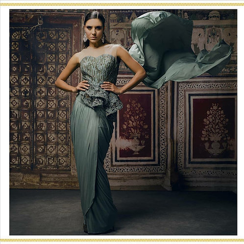 Green Pleated Saree with Embroidered blouse & Drape