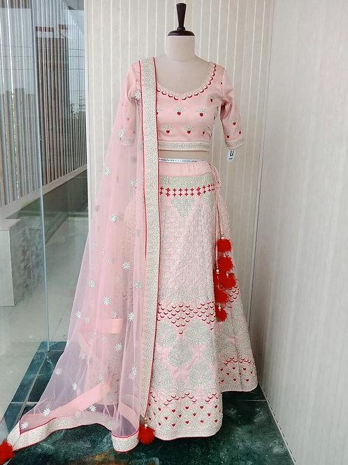 Powder Pink Pastel Lehenga