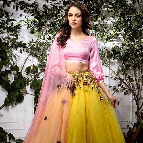 Yellow Net Lehenga with Silk Satan blouse & Floral Buti Dupatta