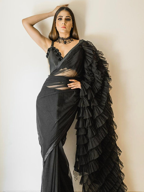 Black Net Saree with Frill Pattern