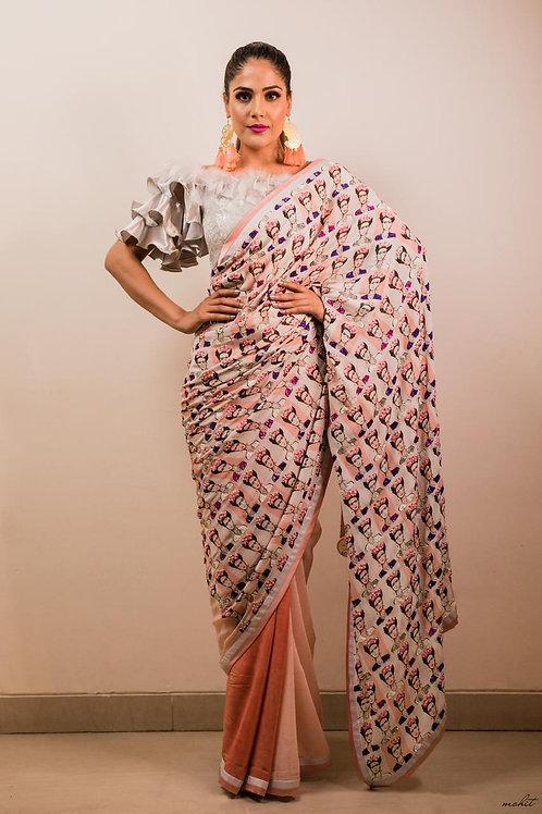 The Mannequin Print Saree