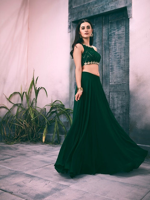 Green Embroidered Top with Georgette Skirt