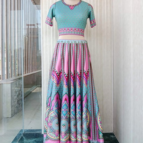Printastic Lehenga with Vibrant Multi Color Skirt, matching stretchable blouse