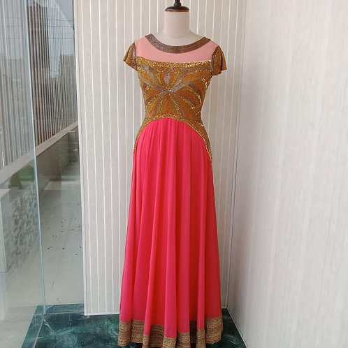 Coral One piece Kalidaar with Hand Embroidery Neckline