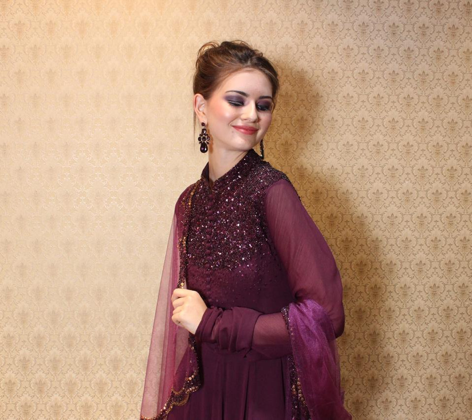 Wine color shiffon suit with tonal sequen hand embroidered neckline , churidaar sleeves and dupatta