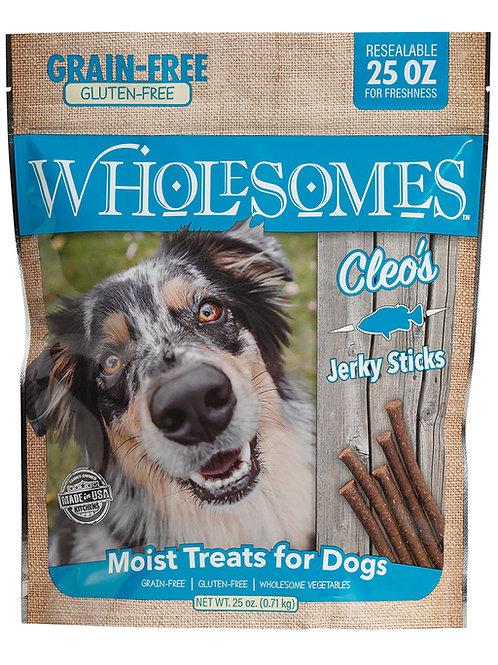 25 OZ WHOLESOMES GRAIN FREE CLEO'S JERKY STICKS DOG TREATS