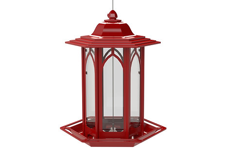 RED METAL WINDOW GAZEBO BIRDFEEDER