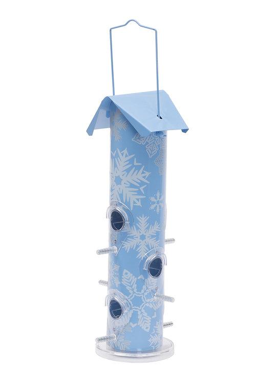 Seasonal Snowflake Metal Tube Bird Feeder