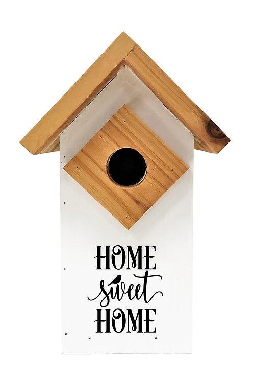 WHITE DECORATIVE COLONIAL BLUE BIRD HOUSE