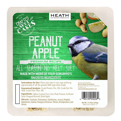 11.75oz Green Premium Peanut Apple Suet Cake