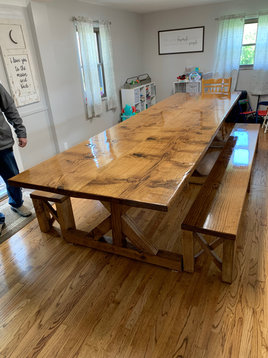 Oak Trestle Table and Benches