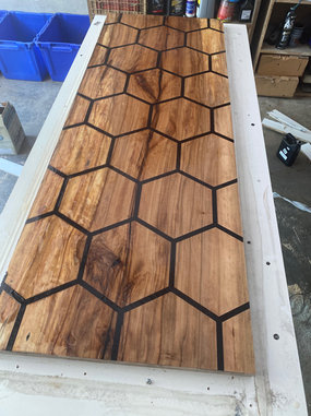 Sweet Gum Counter-top with Honeycomb Resin