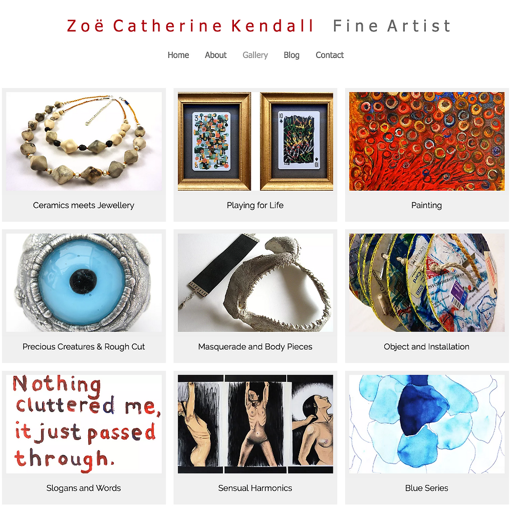 Screenshot of Zoe Catherine Kendall's website - July 2018