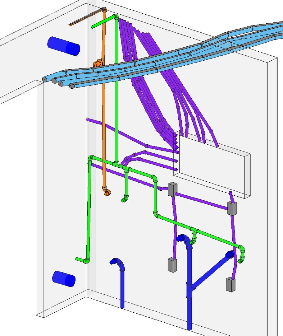 Modelo 3D das tubulações