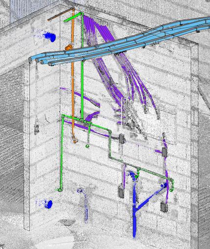Nuvem de pontos sobreposta ao modelo 3D