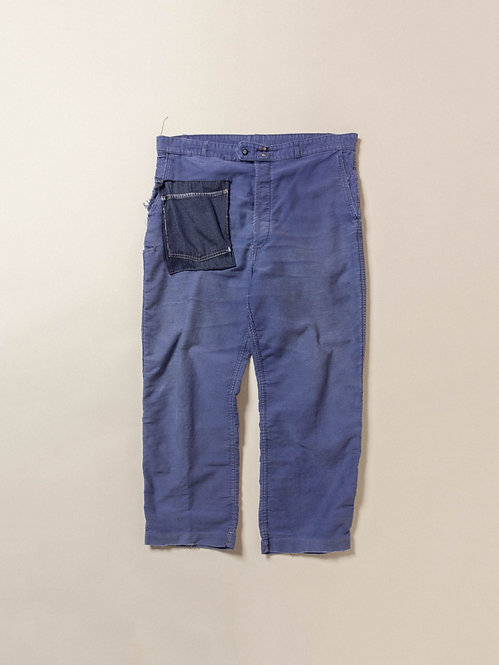Vtg Patched French Moleskin Trousers (39x27)