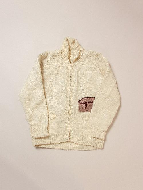 Vtg Hand Knit Cowichan Wool Cardigan (M)