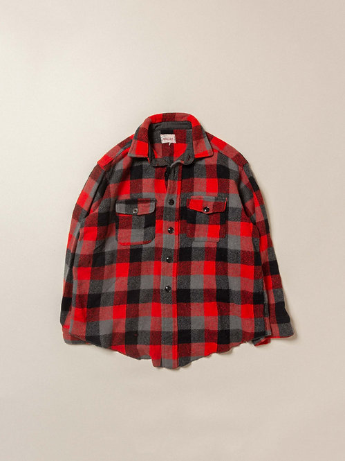 Vtg Melton Wool Plaid Shirt (M)