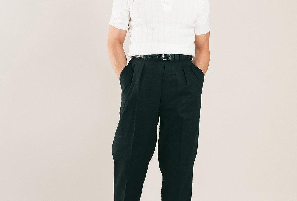Casatlantic trousers. Model: Tanger. Color: Black. Material: linen/cotton. Made in Casablanca.