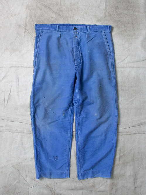 Vtg French Moleskin Workwear Trousers (36x27)