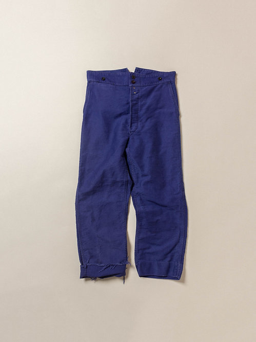 Vtg French Moleskin Buckleback Trousers (36x26)
