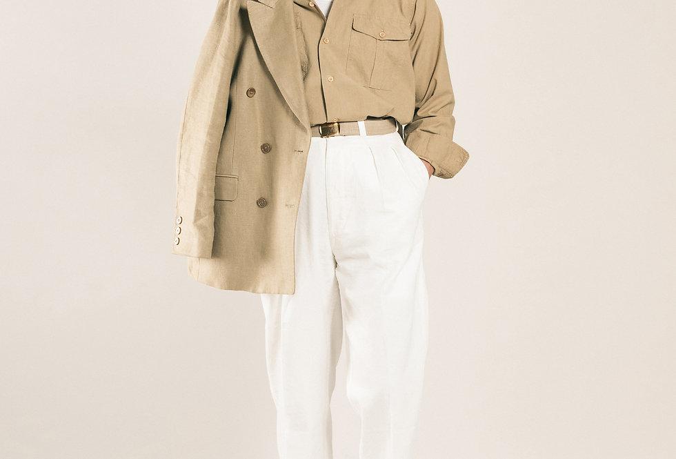 Casatlantic trousers. Model: Tanger. Color: White. Material: linen/cotton. Made in Casablanca.