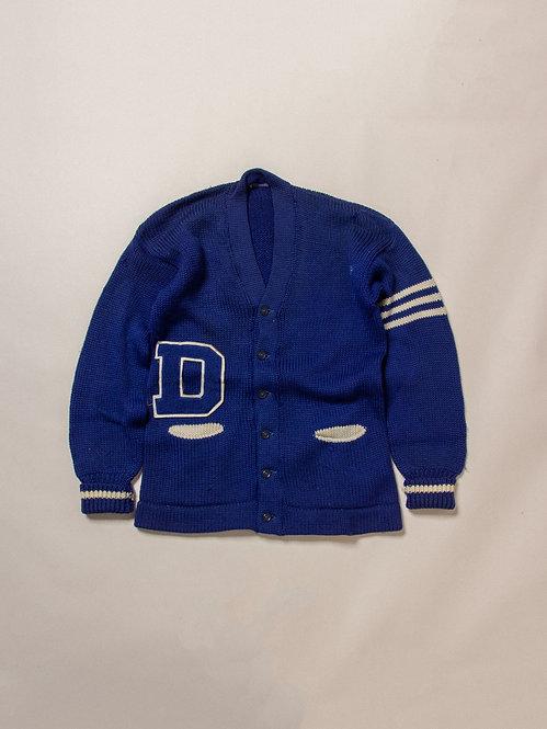 Vintage Blue Letterman Cardigan (XL)