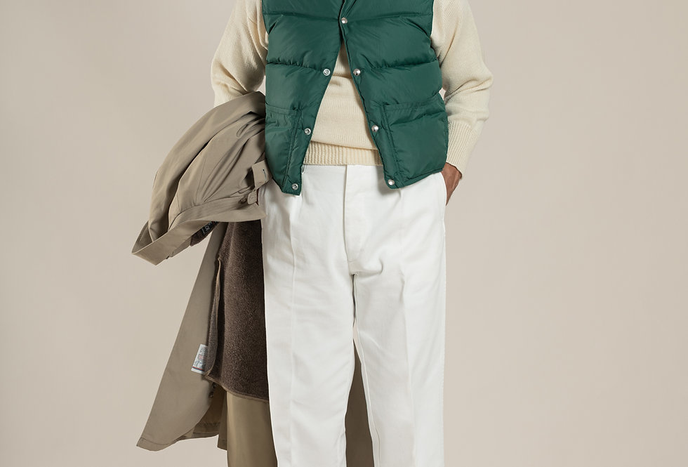 Casatlantic   Mogador - The Tailor's Cut   High waisted white cotton trousers with single pleats and side adjusters