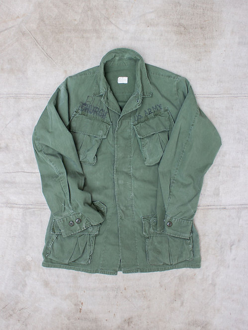 Vtg US Army Poplin Jungle Jacket (S-Long)