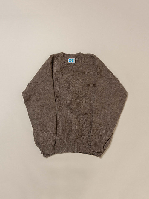 Vtg Brown Fisherman Knit Sweater (XL)