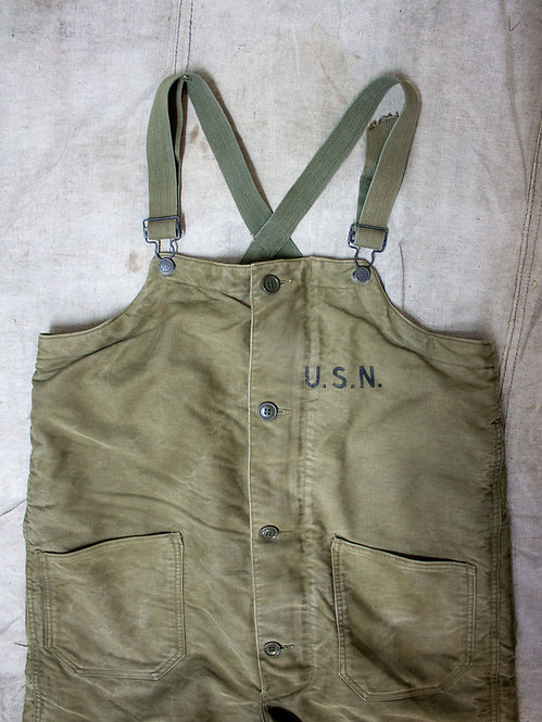 WW2 US Navy Department USN Deck Pants Overalls. Contract no NSxs 38051
