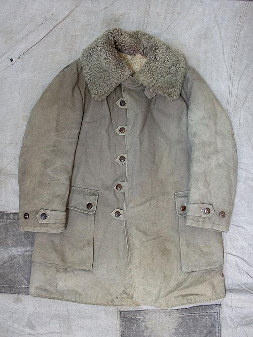 Vtg 1940s Swedish Army Shearling Coat (L/XL)