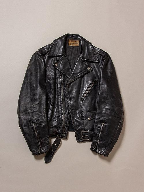 Vtg 1950s Campus Steerhide Biker Jacket