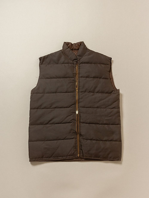 Vtg Brown Double-zip Vest (L/XL)