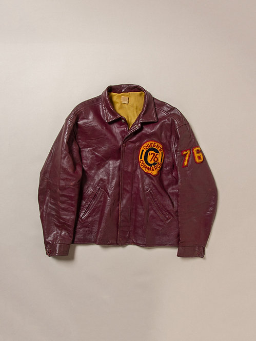 Vtg 1970s Queens Commerce Leather Jacket (L)