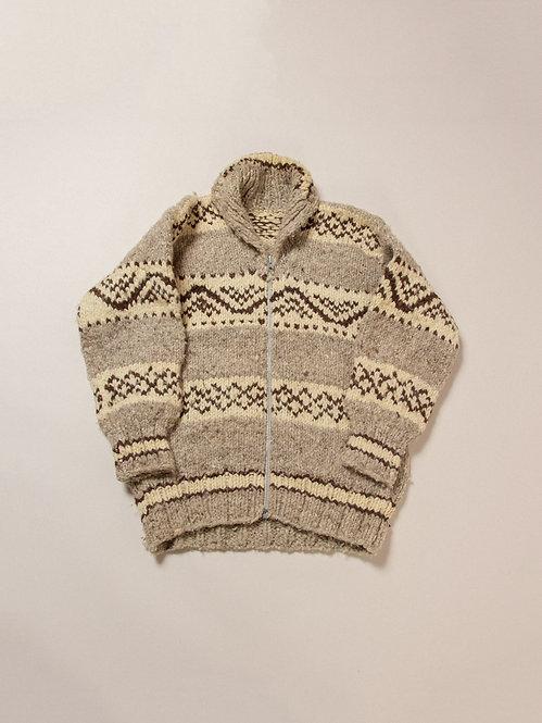 Vtg Hand Knit Cowichan Wool Cardigan (L)