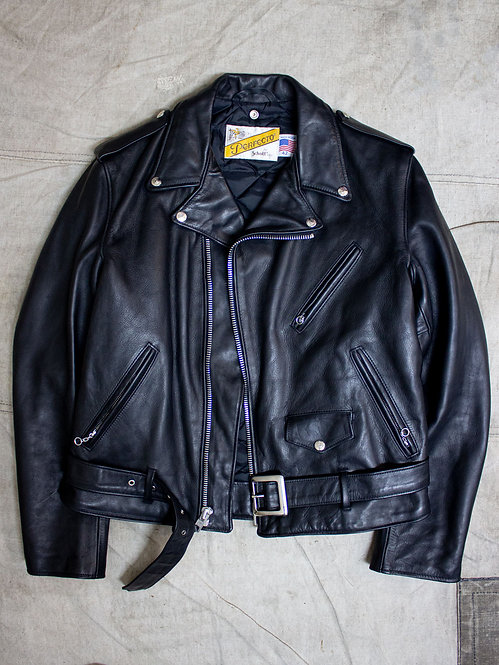 Schott perfecto 118 black leather motorcycle biker jacket cowhide marlon brando made in usa leather