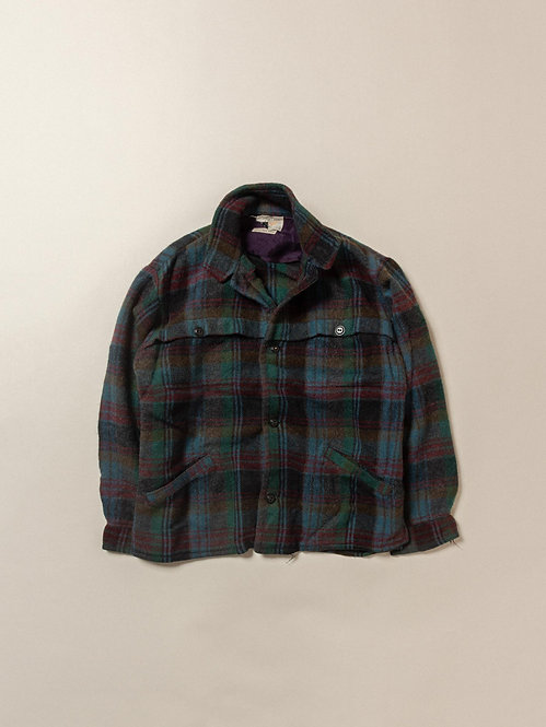 Vtg Wool Plaid Overshirt (M)